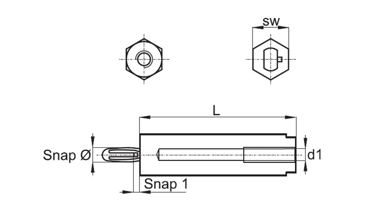 Spacer Bolts with Internal Thread and Snap (JC31_0046